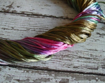NEW - Hand-dyed Silky Cord in VINTAGE PETALS, 6 yards