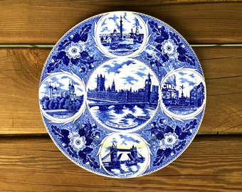 Vintage London Pride J. H. Weatherby Blue and White Collectors Plate featuring London landmarks