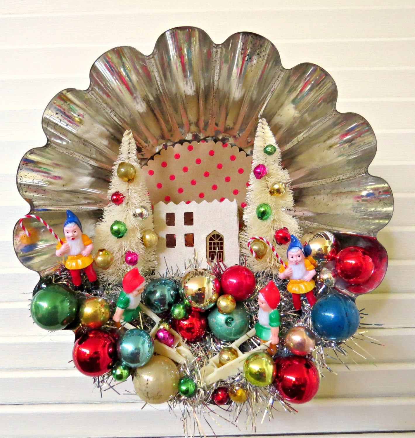 Vintage large tin tart mold christmas decoration for A christmas decoration