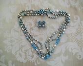 Vintage Japan Blue Demi Parure Necklace and Earrings