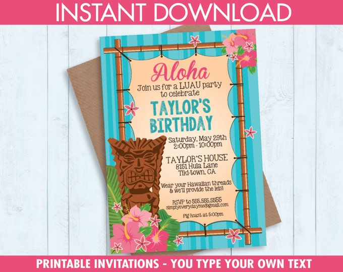 Luau Invitations - Hawaiian Party - EDITABLE Birthday Party PDF to personalize at home - Editable Text - Instant Download PDF Printable Kit