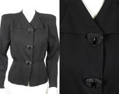 1940 1950 Rich Black Wool Gabardine Jacket with Large Black Plastic Bakelite Jet Buttons