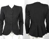 1940 1950 Rich Black Wool Gabardine Jacket with Slight Train and Beautiful Stitch Work Design