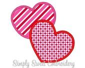 Two Hearts Machine Embroidery Applique Design