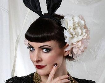 Bunny ears headband - Black bunny ears - Playboy bunny ears.