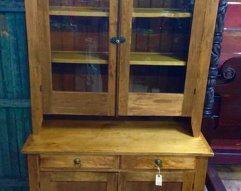 Antique Maple Step Back 2 Piece 44w78h20d top is 45h12d. Kitchen Cupboard Cabinet 1800's Shipping is Not free