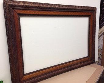 Antique Original Ornate Oak Wood Frame 40.25x24.25 opening. OD 51x35
