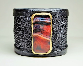 Adjustable  Red Agate Stingray Leather Cuff Bracelet