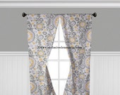 Lavender Gray Yellow Curtain Panels Floral Damask Curtains Drapery Window Treatments Set Pair Gray Drapes Home Decor
