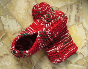 Knitted Slippers for Women or Teens -- A Great christmas Gift