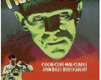 Frankenstein Movie Poster Cross Stitch Pattern PDF