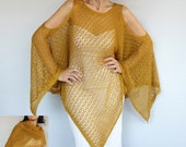 Plus Size Summer Kaftan Crochet Poncho, Mustard Yellow Oversized Knit Kimono Tunic Cover-up Cape Top Spring Women Fashion Accessory Gift Her
