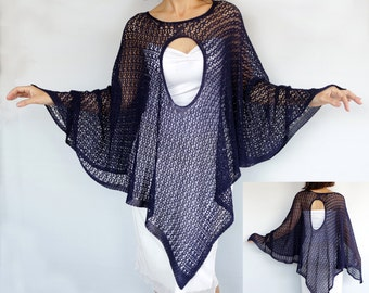 Summer Spring Poncho, Mercerized Cotton Navy Oversized Knitted Kimono Top Tunic Knit Cape Spring Women Fashion Accessory Coverup Kaftan Gift