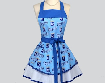 Ruffled Retro Apron / Women's KC Royals Apron will make you the Cute and Flirty Fan when Tailgating or at Home Monogram Available