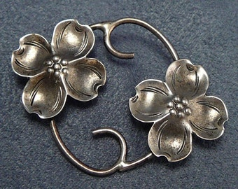 Nye Dogwood Sterling Flowers Pin Vintage Brooch