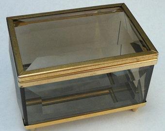 Smoked Glass Jewelry Box Trinket Box Mirrored Vintage