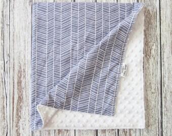 Gray Herringbone Baby Blanket, Gender Neutral Minky Baby Blanket, Gray and White Baby Blanket