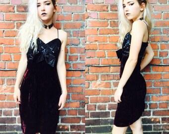 Womens Vintage Sequin and Velvet Mini Dress 80's size Small