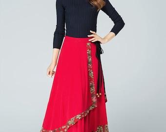Skirts for Women,Maxi Skirt,Boho skirt,Long Skirt,Bohemian Skirt,Full Skirt,Summer Skirt,Long Linen Skirt, layered skirt  1589