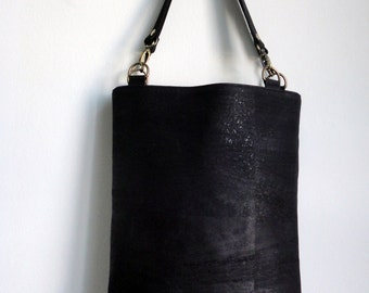 Cork Tote bag with leather straps, Cork handbag, Water resistant cork bag by Nobel King, Black cork tote bag