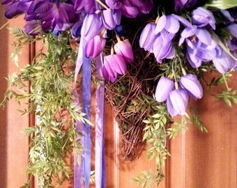 Lovely Purple and Lilac Tulip Basket, Spring Decor for your door