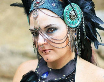 Teal and silver chained feather headpiece
