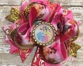 Pink Hair Bow, Disney Princess  Bow, Newborn Headband, Infant Headband, Baby Headband, Ariel, Belle, Cinderella, Snow White, Tiana, Rapunzel