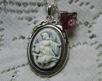 Guardian Angel Necklace,  Angel and Child, Religious Necklace, Christian Necklace, Purple & White Cameo, Silver Ribbon, Flower Charm