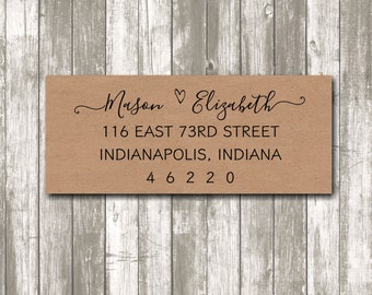 Return address label - custom- 2 5/8 x 1 inch rectangular, brown kraft label, sticker, wedding announcements - SET OF 30