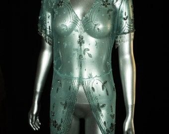 Edwardian Tulle Beaded Net Dress Tunic with Tales Silver Beaded on Aqua Teal Original 1910's Wearable Egyptian Influence