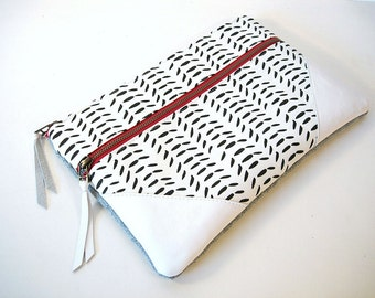 Large Zipper Clutch Black and White Leather and Linen Clutch
