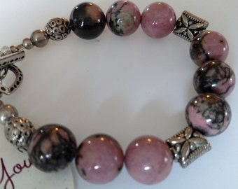 Bracelet Pink Jasper with Sterling Silver Beads and Toggle