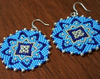 Large Blue Peyote Earrings