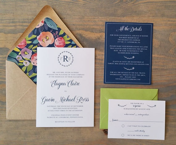 modern wedding invitation, vintage wedding invitation, navy blue wedding invitation, watercolor wedding invitation, wedding stationery