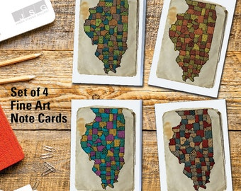 Illinois Patterns – Note Card Set of 4