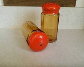 OTTO Japan Amber Glass Orange Stainless Large Shaker Set