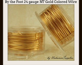 By the Foot 24 gauge Non Tarnish Gold Colored Wire - 100% Guarantee