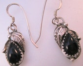 Native American Navajo Black Onyx Sterling Silver Drop Earrings Signed A Vintage Jewelry Jewellery