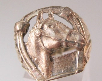 10% OFF SALE Vintage Horse Sterling Ring Good Luck Horseshoe Shamrock Size 6.5 Unisex Jewelry Jewellery