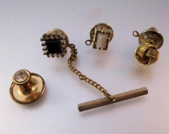 HALLOWEEN SALE 1950s Tie Tack Lot of 3 + Shirt Stud Mid Century Modernist Gold Tone Vintage Mens Jewelry Jewellery