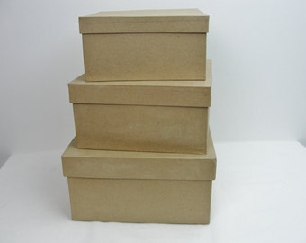 "Paper mache stacking boxes, square paper mache boxes graduated sizes set of 3 (8"", 9"" and 10"")"