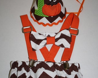 Thankgiving first birthday outfit boy, cake smash outfit, brown orange pumpkin, 1st birthday hat, suspenders, diaper cover, bow tie