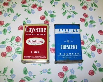 2 Vintage Spice Tins, Crescent Paprika, Schilling Cayenne, 1950s