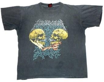 Metallica Vintage 90's Sad But True Concert T Shirt 1991 Pushead Art Black LP Heavy Metal