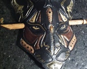 Black Panther Animal Totem Hair Holder Pony tail Holder Leather OOAK