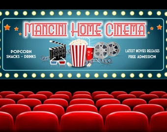 Personalized  Home Cinema Sign with Flashbulb Border, Art Deco Font, Popcorn, Clapboard & Movie Reels Custom Sign, Home Theater Decor C1381