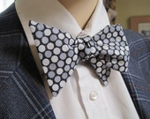 Black and Grey Shimmery Polka Dot Bow Tie