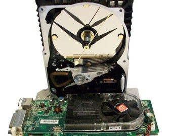 Hard Drive Clock with a Full Green Graphics Circuit Board & Fan as the Base. Amazing Clock. FEE SHIPPING USA!