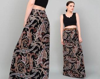 Vintage 70s Black Paisley Maxi Skirt FUZZY Bohemian Gypsy Long A-line Skirt Small Medium S M