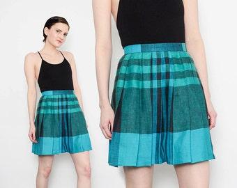 80s Tartan Plaid Mini Skirt High Waist 1980s Preppy Retro Schoolgirl Cotton Pleated Skirt Green Black Small XS S